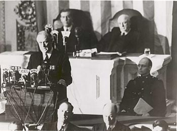 "FDR delivering ""Infamy"" speech before Congress, Dec. 8th, 1941"