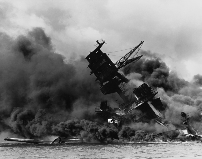 USS Arizona, burning after the attack