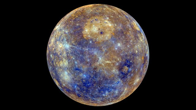 Color-enhanced map of Mercury. Credit: NASA/JPL