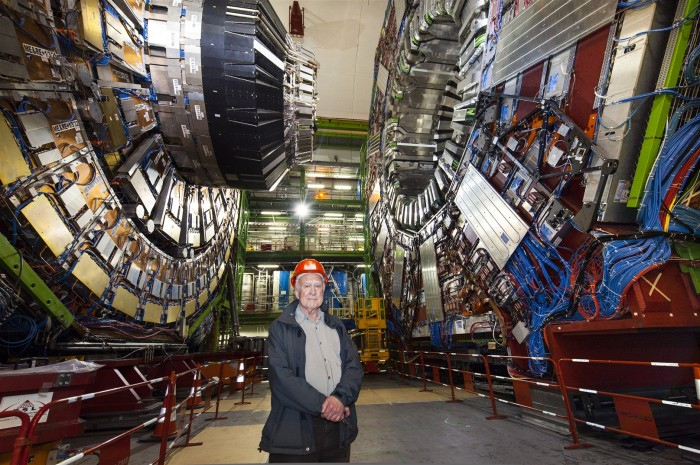 Peter Higgs (who proposed the Higgs boson), hanging out at LHC's CMS detector