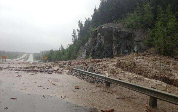 Washed out section of the Trans Canada Highway