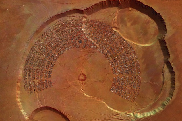 "Black Rock City - home to ""Burning Man"" - shown in a Martian crater"