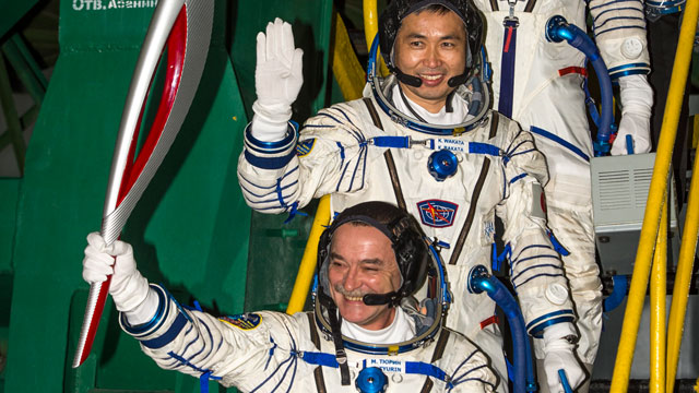 Olympic torch launched into space