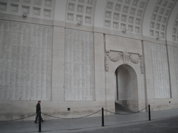 Inside the Mennin Gate. Note the names inscribed on the walls