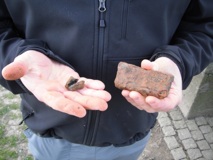 The shell and bullet fragments we found by Langemark Cemetery