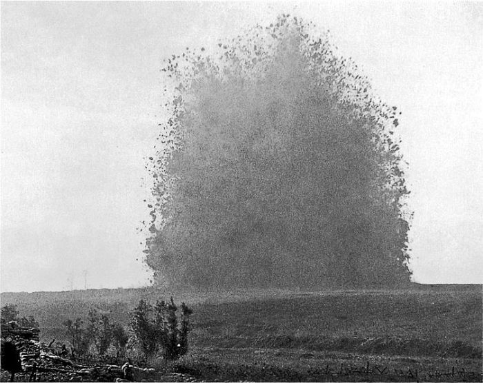 The Hawthorn Ride Mine exploding. Photo by Ernest Brooks