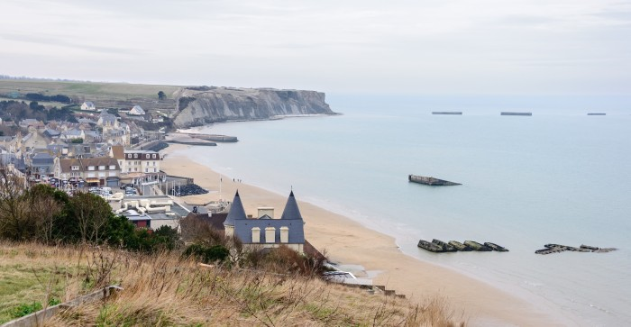 Arromanches and Mulberry Harbor as it appears today