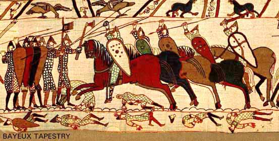 A section shoing the Battle of Hastings. To view the full tapestry, click here: