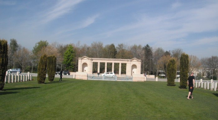 The Bayeux War Cemetery, with the Memorial in the distance
