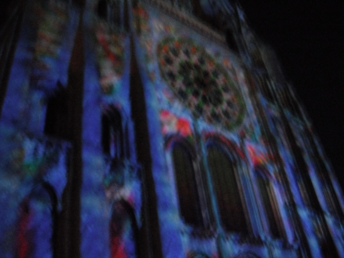 The light show on the Cathedral facade that took place that night