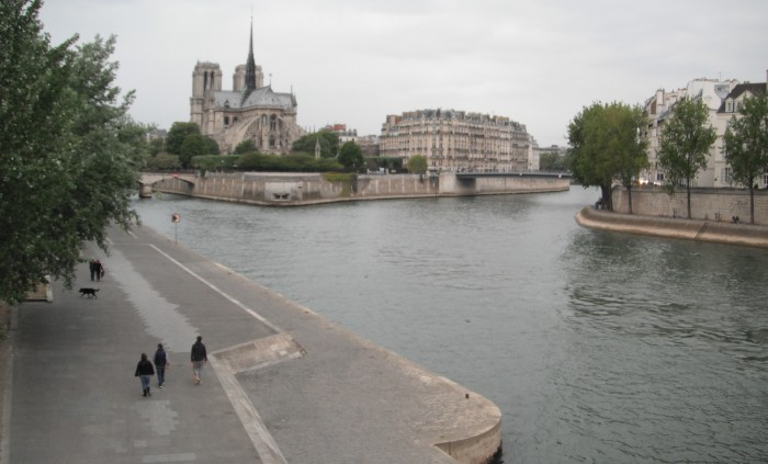 La Seine, with the Notre Dame de Paris Cathedral in the distance