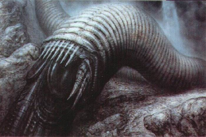 HR Giger's concept for a Sandworm of Dune