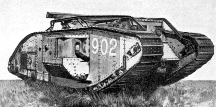 British Mark V tank, ca. 1917