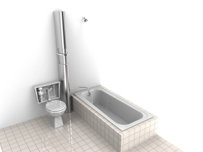 Artist's concept of the ReFlow system in an existing bathroom.