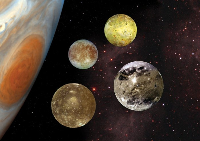 Jupiter's larger (Galilean) moons, Callisot, Europa, Io and Ganymede. Credit: NASA