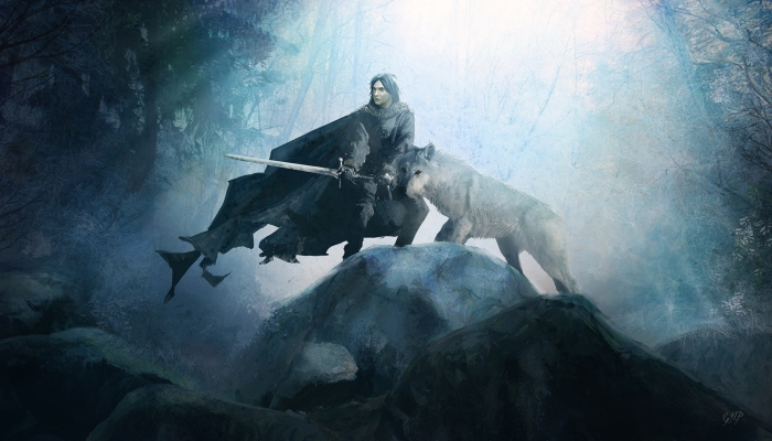 Jon Snow and Ghost by guillemhp