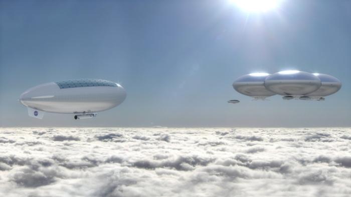 Artist's concept of a Venus cloud city – part of NASA's High Altitude Venus Operational Concept (HAVOC) plan. Credit: Advanced Concepts Lab/NASA Langley Research Center