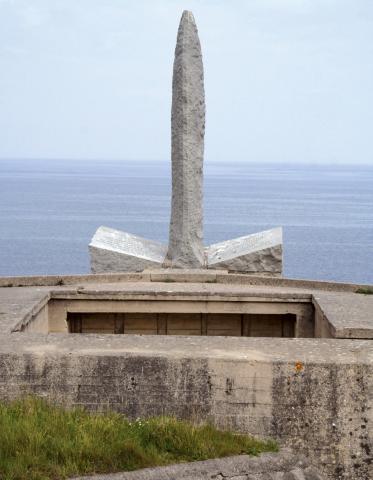 The Ranger Monument at Pointe du Hoc in France. Credit: abmc.gov